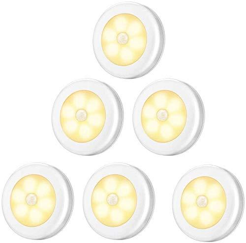 Eamplest Nachtlicht mit Bewegungsmelder, 6 LED Bewegungssensor Licht Schrankbeleuchtung, uto EIN/AUS Licht Sensor Licht für Flur, Treppen, Bad, Schlafzimmer, Küche (Warm light)