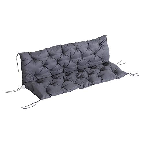 Outsunny Coussin Matelas Assise Dossier pour Banc de Jardin balancelle canapé 3 Places Grand Confort 150 x 98 x 8 cm Gris