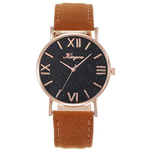 Armbanduhr für Frauen,Luotuo Mode Damen Ledergürtel Uhr Einfach Freizeit Quarzuhr Ø36mm Sternenhimmel Zifferblatt mit PU Ledergürtel Wild Business Watch