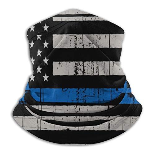 Vintage desgastado delgada línea azul bandera de EE.UU. aplicación de la ley máscara facial sin costuras para polvo, festivales, al aire libre, deportes -  -  Talla unica