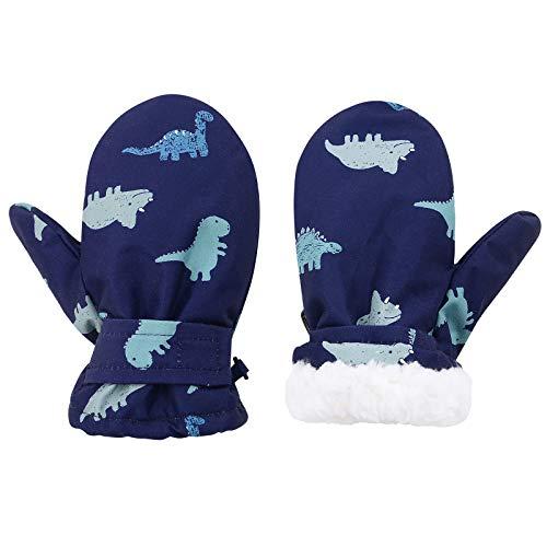 Lined Fleece Toddler Mittens Kids Winter Warm Gloves Child Ski Gloves Waterproof Snow Baby Mitten for Boys Girls Blue Dinosaur M