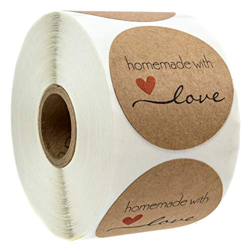 """2"""" Inch Round Natural Kraft Homemade with Love Stickers / 500 Labels per roll"""