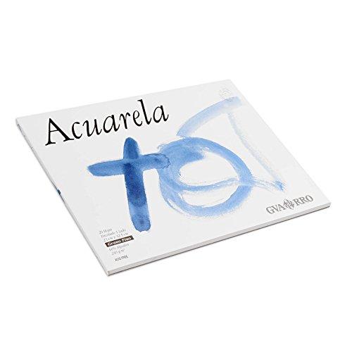 Bloc Encolado, 23x32,5 cm, 20 Hojas, Guarro Acuarela 60% Algodón, Grano Fino 240g