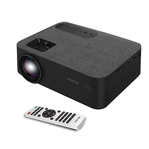 PRIXTON Lumière – Proiettore portatile / proiettore LED Full HD, 5000 lumen, connessione HDMI, USB, MicroSD, Aux in, AV in, altoparlanti integrati e telecomando incluso (ricondizionato)