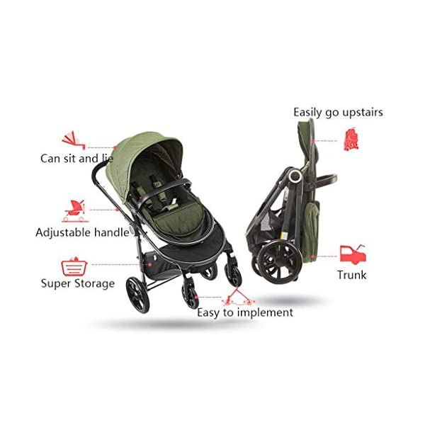 BHDesign Pushchairs Two-Way Stroller High Landscape Lightweight Portable Folding Shockproof Can Sit Reclining Children Trolley Travel 0~3 Years Old BHDesign The adjustable 5-point safety harness has comfortable shoulder pads, The sturdy frame has a wider seat which results in a more comfortable ride for your child The stroller can be easily folded, smaller and more portable; the adjustable backrest angle can be seated or lying down, as well as a large shopping basket and caster * Built-in shock absorber spring, the front wheel rotates 360° universally, and it is smooth, and the rear wheel is stepped on the double brake. 5