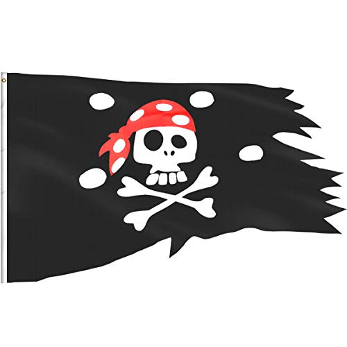 eZAKKA Piratenflagge, Totenkopf und gekreuzte Knochen, für Piraten-Party, Halloween-Dekoration, 2,54 x 1,2 m