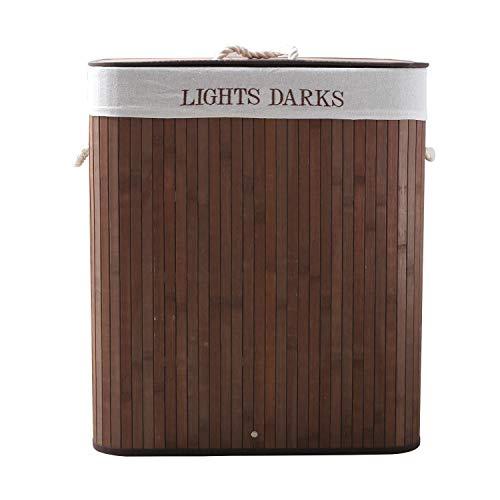 WM Homebase Wäschekorb Bambus Faltbar Wäschebox mit Griffen Wäschesammler herausnehmbar Wäschesack Braun Rechteckig 100L
