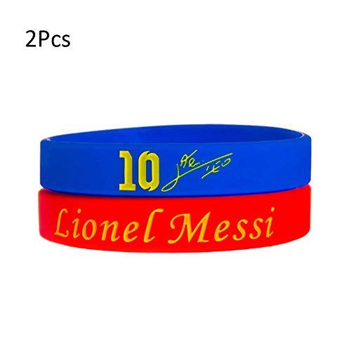 Wanjun Pulsera Material De Silicona Pulsera Elástica Pulsera De Fútbol Pulsera De Aficionado Al Fútbol N ° 10 Messi (2 Piezas)