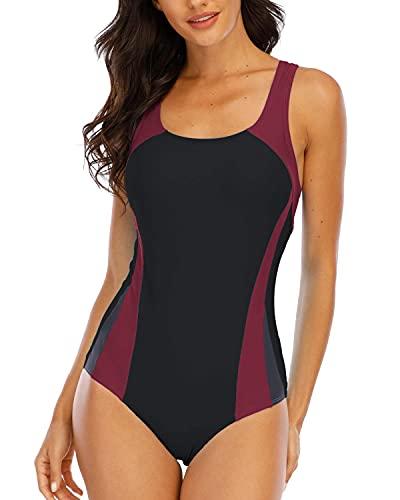 Halcurt Damen Badeanzug Farbverlauf Kreuz Rückseite Einteiler Swimsuit XXL