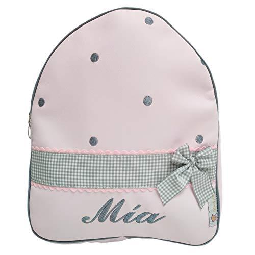 Mochila infantil personalizada con el nombre bordado. (Katia Rosa/gris)