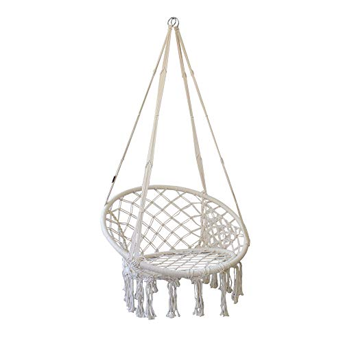 PIRNY Hammock Chair Rope Swing with Side Storage Bag-Handwoven Cotton Hanging Chair for Indoor Outdoor Patio Garden Porch,Capacity Up to 500 LB(White)