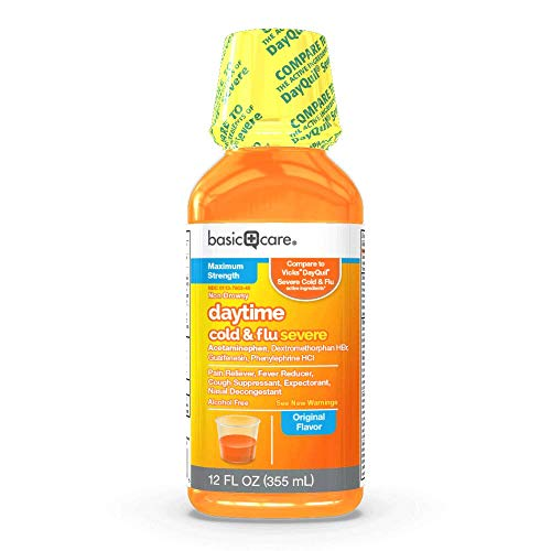 Amazon Basic Care Severe Daytime Cold & Flu, Relieves Aches, Pain, Fever, Chest Congestion, 12 Fl Oz