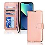 TECHGEAR iPhone 13 Mini Cover - Custodia Protettiva in Pelle Sintetica con TPU Antiurto, Funzione di Supporto con Slot per Schede e Cinturino da Polso per iPhone 13 Mini (5,4 Pollici, 2021) - Oro Rosa