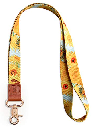 SENLLY Van Gogh Sunflowers Neck Lanyard Strap Premium Quality with Metal Clasp and Genuine
