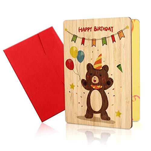 Tarjeta de Felicitación, Tarjeta de Felicitación de Madera, Tarjetas de Cumpleaños, Tarjetas Hechas a Mano con Bambú Real Con Sobres, Feliz Cumpleaños, Mejores Ideas Únicas para Regalos