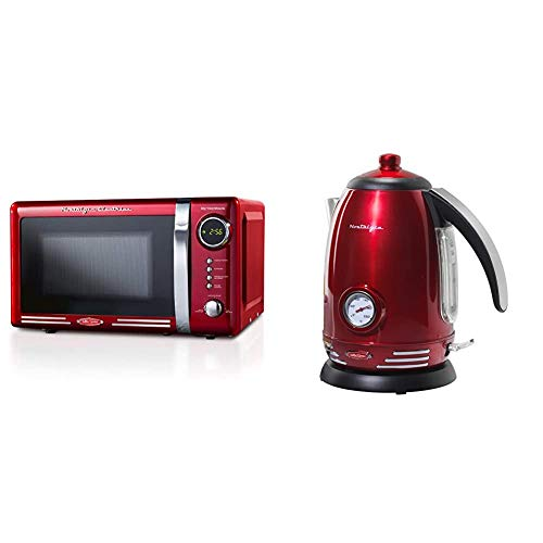 Nostalgia RMO7RR Retro 0.7 cu ft 700-Watt Countertop Microwave Oven, Metallic Red & RWK150 Retro Stainless Steel Electric Water Kettle, Holds 1.7 Liters, Auto-Shut Off & Boil-Dry Protection