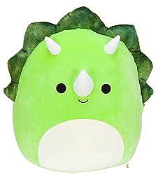 1. Squishmallows 8″ Tristan Triceratops Squishy Plush