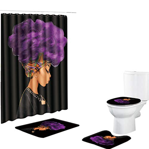 Shower Curtain & Bathroom Rugs Set of 4,Waterproof Non-Slip Bath Mat Bathroom Carpet Rug Toilet Seat Cover Toilet Pad Cover,African American Women
