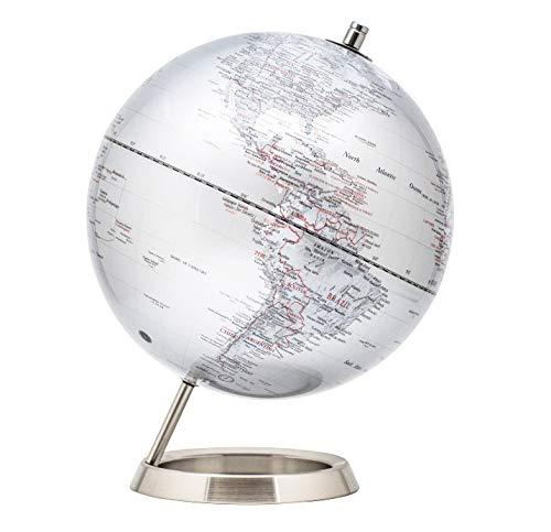 EXZACT Schülerglobus 25cm Globus Silber-Metallic Mit Basis aus rostfreiem Stahl - Pädagogische/Geografische/Desktop-Dekoration - in Englischer Sprache - Silbermetallic