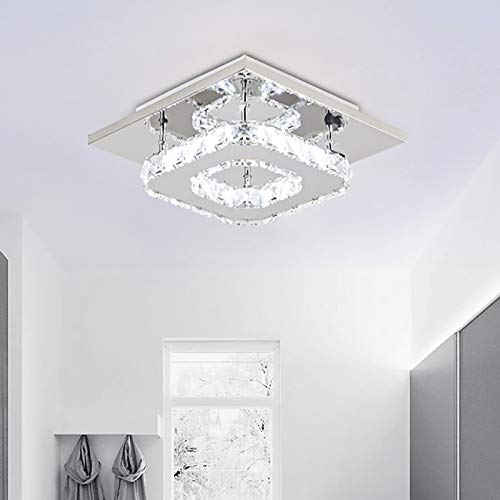 Lámpara de techo moderna de cristal Nullnet, led, 12 W, cuadrada, de acero inoxidable, para pasillo, comedor, dormitorio, salón, cocina, clase de eficiencia energética A++