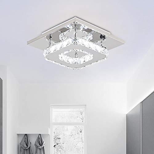 Lámpara de techo moderna de cristal de Nullnet LED, Flush – Lámpara de techo de 12 W, cuadrada, de acero inoxidable, para pasillo, comedor, dormitorio, salón, cocina [clase energética A++]