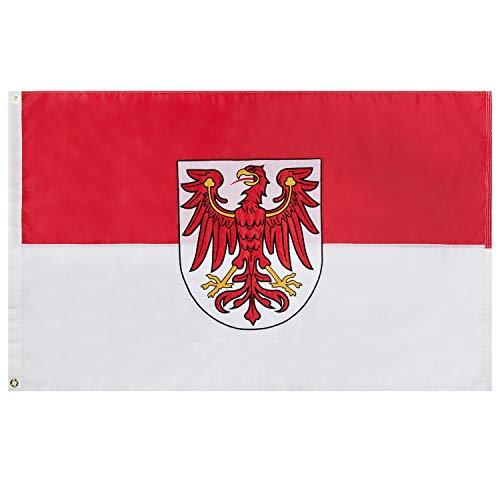 Lixure Brandenburg Flagge/Fahne Premium Qualität für Windige Tage 90x150cm Stickerei-Flagge Durable 210D Nylon Draußen/Drinnen Dekoration Flagge - Nicht billiger Polyester MEHRWEG