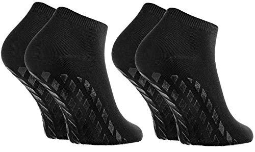 Rainbow Socks - Damen Herren Sneaker Bambus Stoppersocken - 2 Paar - Schwarz - Größen 44-46