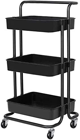 3 Tier Rolling Carts with Wheels Storage Cart Makeup Cart with Roller Wheels Mobile Storage product image
