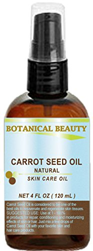 """Carrot Seed Oil 100 % Natural Cold Pressed Carrier Oil. 4 Fl.oz.- 120 ml. Skin, Body, Hair And Lip Care. """"One Of The Best Oils To Rejuvenate And Regen"""