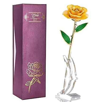 Flor Rosa De Oro De 24 Quilates,Hecho a Mano Eternity Love Dipped Gold Real Rose con Rose Stand,El Mejor Regalo Para El Día De La Madre/Egalo De Cumpleaños/Navidad/Día De San Valentín(amarillo)