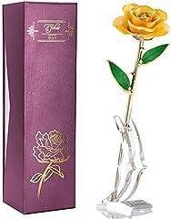 Dipped 24 K Gold de tallo largo Rose en caja de regalo con soporte de pantalla transparente