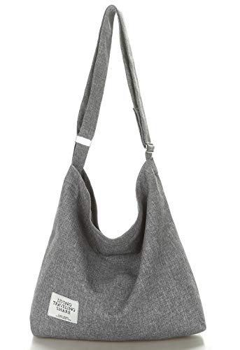 Covelin Women's Retro Large Size Canvas Shoulder Bag Hobo Crossbody Handbag Casual Tote Light Grey