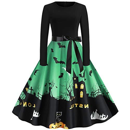 Preisvergleich Produktbild Likecrazy Damen Kleider 50er Jahre Vintage Retro Cocktailkleid Abendkleid Halloween Karneval Kostüm Festlich Partykleid Lange Petticoat Faltenrock Ballkleid Langarm Abschlussball Kleid