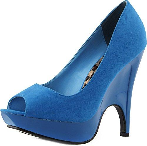 Women's Trendsup Gaga-2 Teal Velvet Platform Wedge Peep Pumps Shoes, Teal, 7