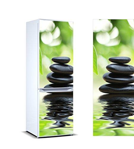 Pegatinas Vinilo para Frigorífico Piedras Negras Reflejo Agua | Varias Medidas 185 x 70 cm | Adhesivo Resistente y de Fácil Aplicación | Pegatina Adhesiva Decorativa de Diseño Elegante