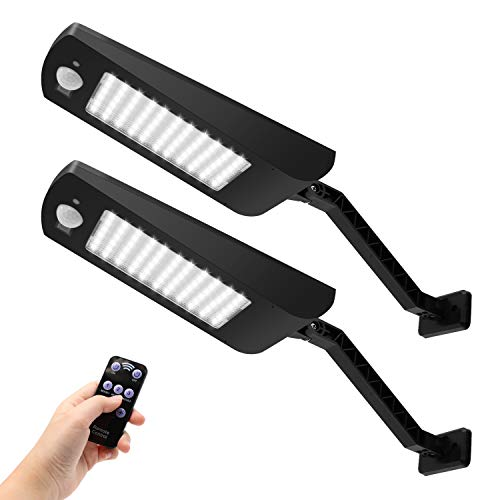 Kufung solar lights outdoor, waterproof motion sensor flood light with remote control, 66 led wireless security lamp for deck, fence, patio, gutter, yard, shed, path etc (black, 2 pack)