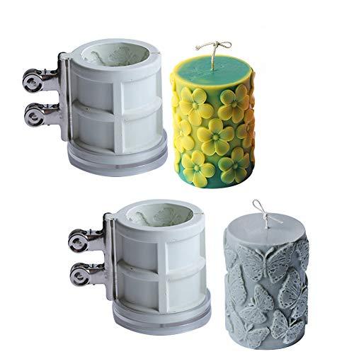 ZJONE Kerzenformen Zum Gießen Groß Silikonform Stumpenkerze Mit Schmetterling Frangipani Geprägte Für DIY Hausgemachte Kerzen Aroma Gips Seife (Frangipani+Schmetterling)