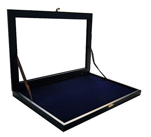 Vitrina - Alfileres para 100 pines, marco de madera, color negro