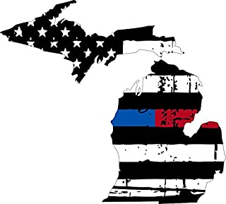 Michigan tattered thin blue-red line us flag honoring our men & women of law enforcement and Fire Fighters USA america car symbol sticker decal die cut vinyl window computer - Made and Shipped in USA