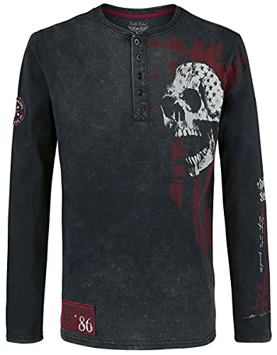 Rock Rebel by EMP Through The Glass Hombre Camiseta Manga Larga Negro/Gris XL, 100% algodón, Regular