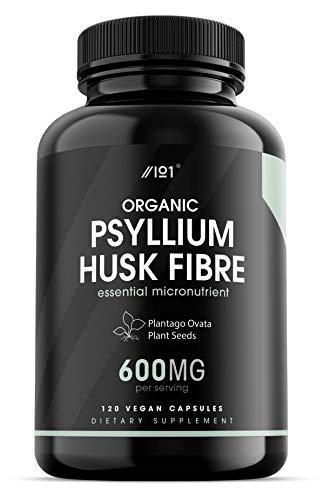 Organic Psyllium Husk Fibre - 600mg - Natural Prebiotic Fibre Supplement from Raw Plantago Ovata Seeds - Ispaghula Husk - Made in The UK - 120 Vegan Capsules