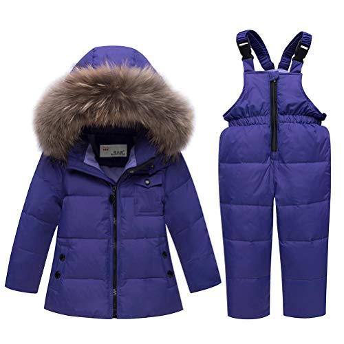 Skijakkeset Baby Mädchen Winterjacke Warm Schneeanzug Daunenjacke Skianzug Süß Mit Kapuze + Schneelatzhose Down Jacket 2tlg Bekleidungsset Verdickte