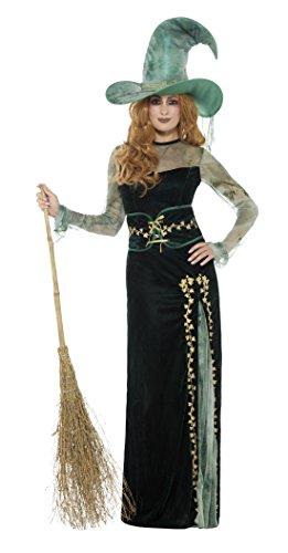 Smiffys-45111L Disfraz Deluxe de Bruja Esmeralda, con Vestido, cinturón y Sombrero, Color Verde, L-EU Tamaño 44-46 (Smiffy
