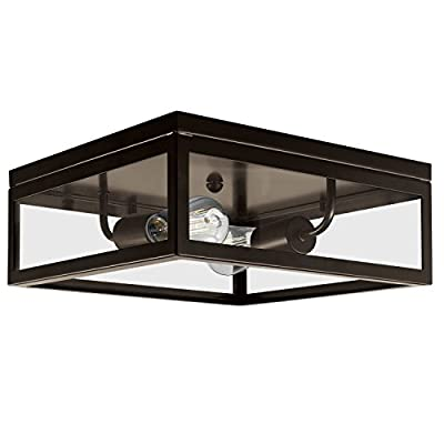 Globe Electric Memphis 2-Light Flush Mount Ceiling Light, Dark Bronze, 4 Clear Glass Panes 65748