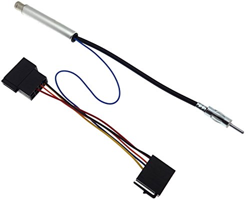 Adaptateur d'antenne ISO - Câble adaptateur DIN - Alimentation fantôme - Compatible avec Audi Seat Skoda VAG