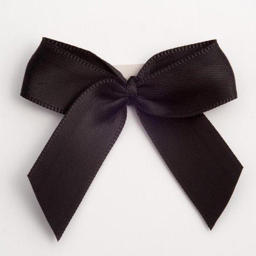Satin-Schleifen, 5 cm, selbstklebend, Schwarz, 12er Set