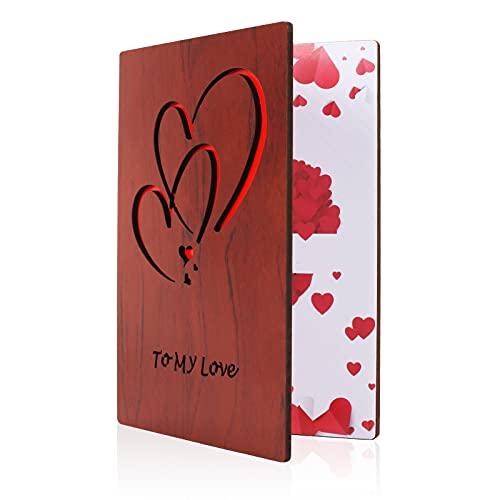 NACTECH Bambuskarte mit Herz Karte Holz Beschreibbare Grußkarte Liebe Geburtstagskarte Geschenkkarte Weihnachtskarte Einladung Karte für Hochzeitstag Vatertag Muttertag Valentinstag Jubiläum Kindertag