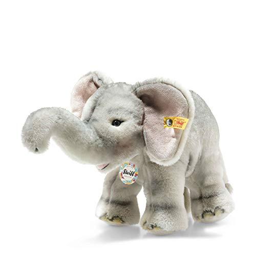 """Steiff 64975 Original Plüschtier Elefant Back in Time Ellfie, Kuscheltier ca. 28 cm, Markenplüsch Knopf im Ohr"""", Schmusefreund für Babys von Geburt an, grau"""