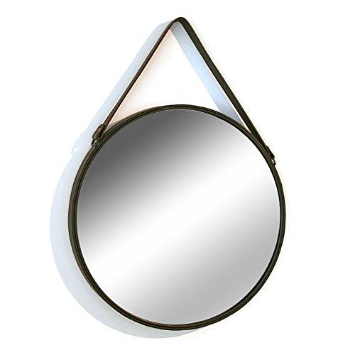 Versa 20850030 Espejo de colgar pared redondo, 50x50x3cm, Metal y cuero, Cuerda, natural
