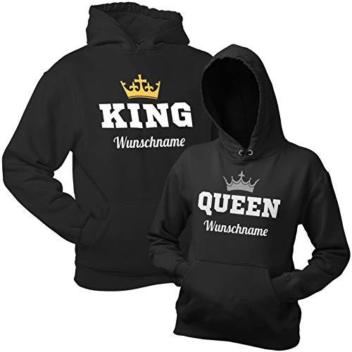 Shirtoo King Queen Pullover (Hoodies) mit individuellen Namen – Schwarze Kapuzenpullis im Partnerlook Geschenk zum Valentinstag, Geburtstag, Jahrestag
